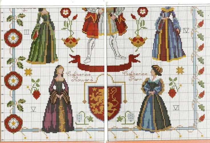 0 point de croix roi henri VIII et ses épouses - cross stitch king henri VIII and his  wives 3