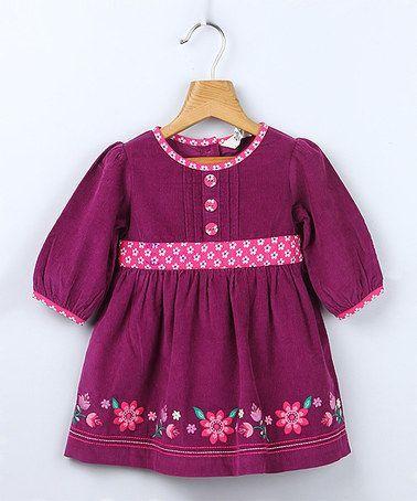 Purple Flower Corduroy Dress - Infant & Toddler