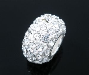 Rhinestone Silver - 16mm, Silver Plated, 2pc pack