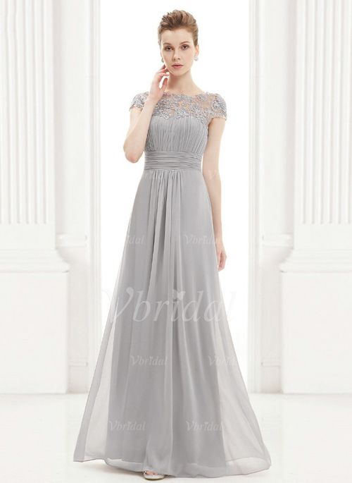 Evening Dresses - $159.59 - A-Line/Princess Scoop Neck Floor-Length Chiffon Evening Dress With Ruffle Lace Beading (0175092119)