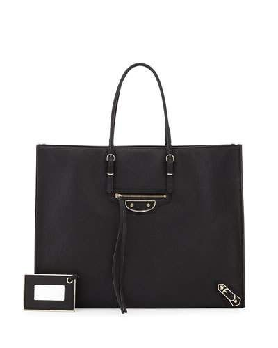 New V2F54 Balenciaga Papier A4 Tote Bag Black @ Price $2295 At:Neiman Marcus