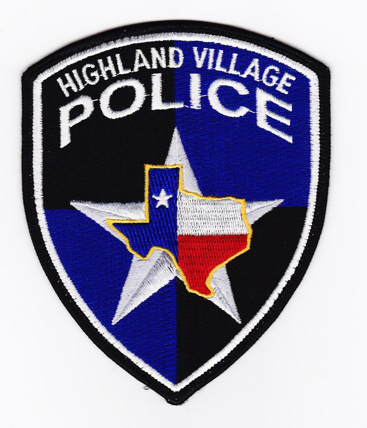 Highland Village TX PD Police patches, Texas police