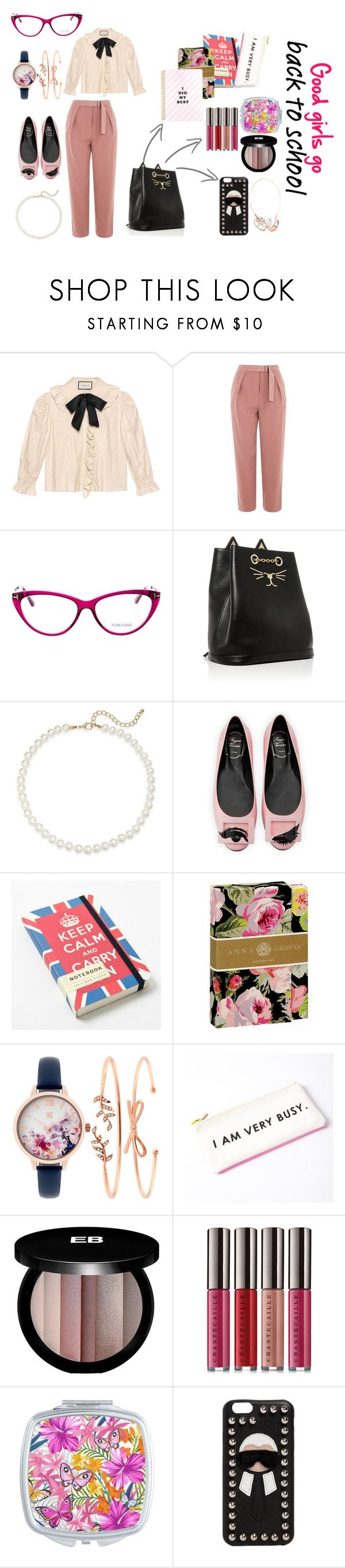 """""""Good girls go back to school"""" by jomax ❤ liked on Polyvore featuring Gucci, Topshop, Tom Ford, Saks Fifth Avenue, Roger Vivier, Cavallini & Co., Anna Griffin, INC International Concepts, Edward Bess and Chantecaille"""