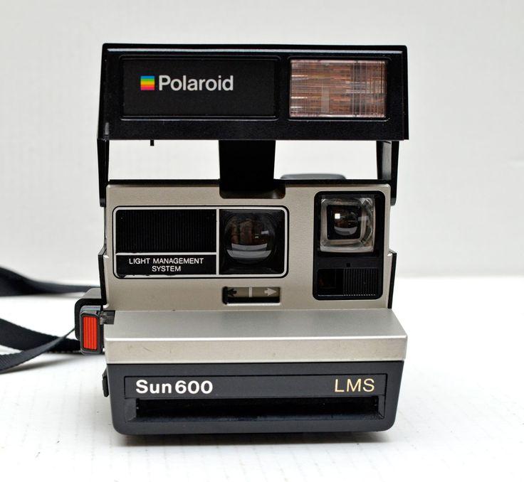 Vintage Polaroid Sun 600 LMS Silver Black Instant Film Camera by vtgwoo on Etsy