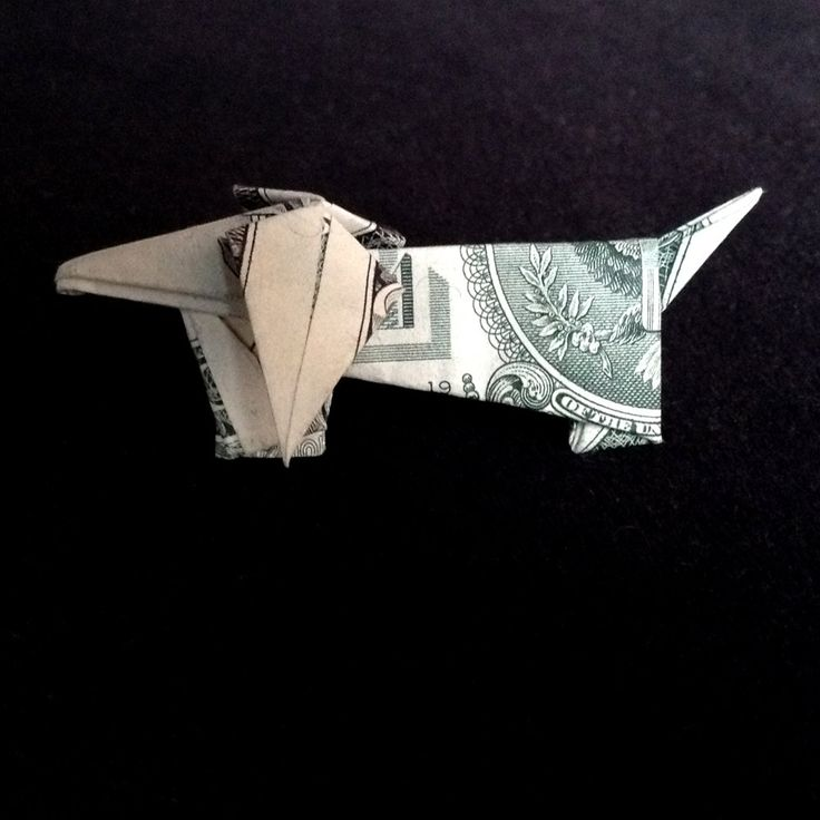 Dachshund DOG Money Origami Made out of Real One Dollar Bill by trinket2shop on Etsy