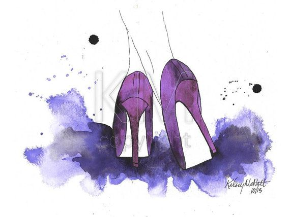 High Heels, Fashion Illustration Watercolor Painting Print ...