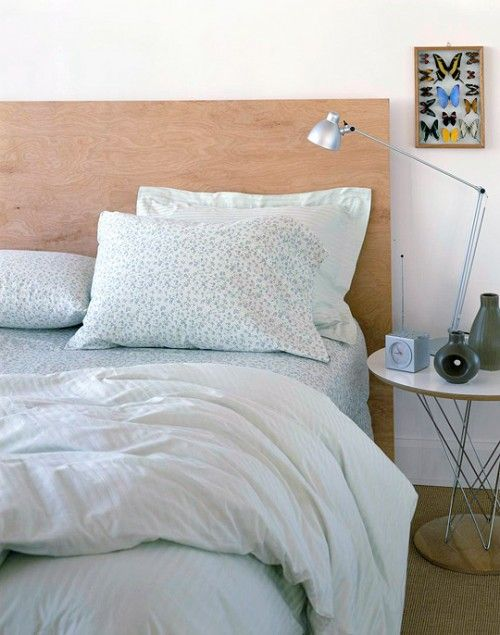 plywood headboard- Naturally Modern: Make this ultramodern headboard in an  hour. Buy a piece of plywood from your local home supply store.