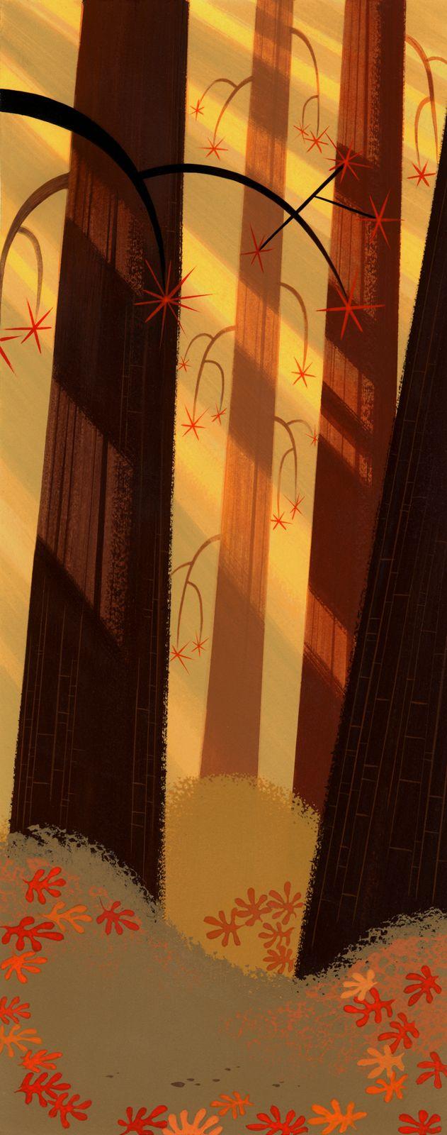 Samurai Jack background art painted by Scott Wills. 2001.