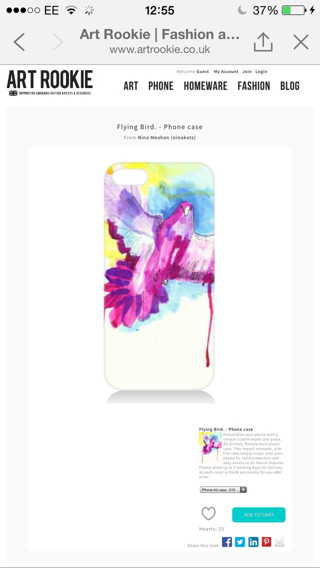 Lovely new phone case on the way from Nina Katz.