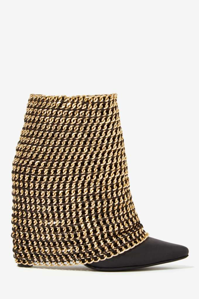 WHAT I WOULD GIVE FOR THESE SHOES....AND AN EVENT TO WEAR THEM TO...Jeffrey Campbell Holy Grail Chain Boot   Shop Shoes at Nasty Gal