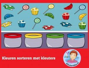 Kleuren sorteren, kleuters op digibord of computer, kleuteridee, Kindergarten educative games for IBW or computer