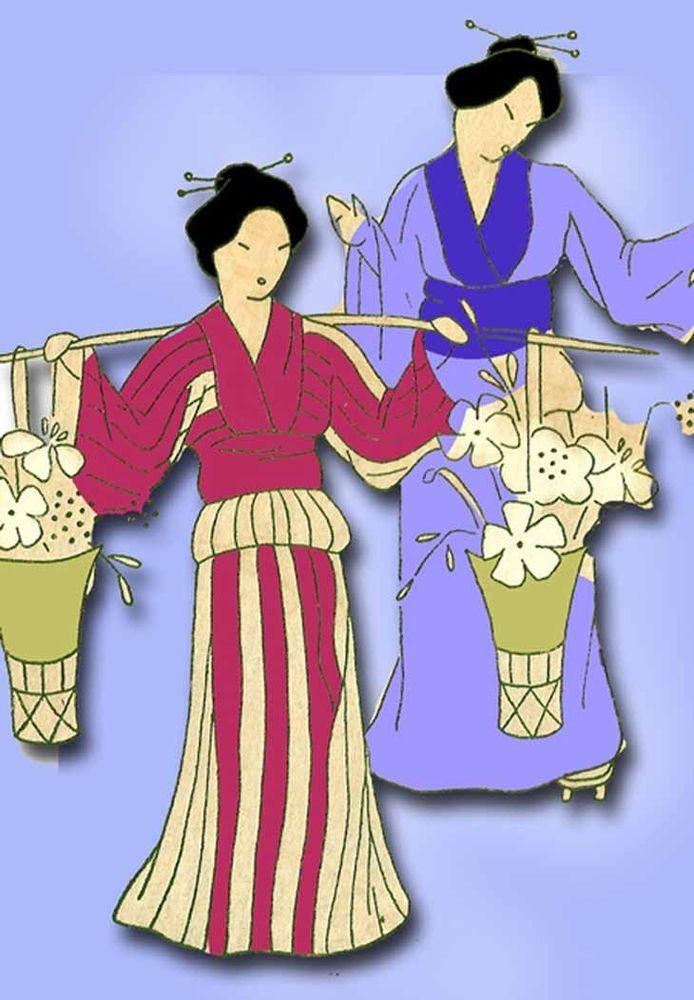 1930s VTG Betty Burton Embroidery Transfer B Uncut Dutch & Asian Lady Tea Towels #BettyBurton #TeaTowel