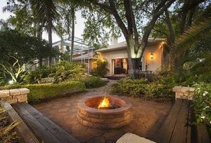 #PinMyDreamBackyard    Traditional Patio with exterior stone floors, Bench seating, Raised beds, Pathway, Fire pit