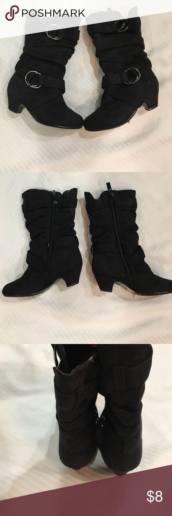 toddler girls size 7 black boots wl a tiny heel for a lil lady Shoes Boots