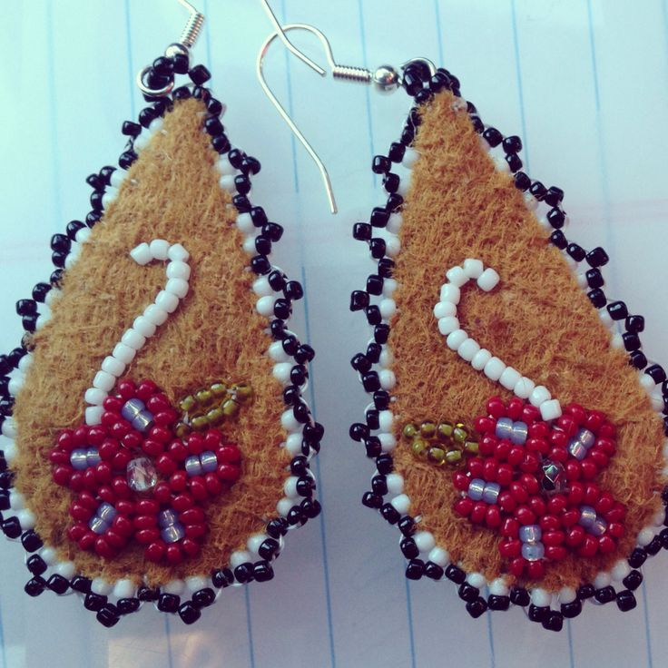 Beaded moose hide earrings made by Liisia Carlo Edwardsen