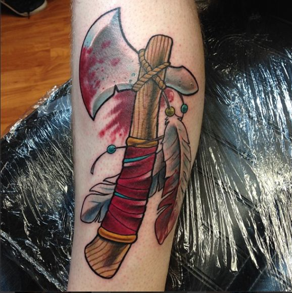 Neo-Traditional Tomahawk Tattoo by Pony Lawson