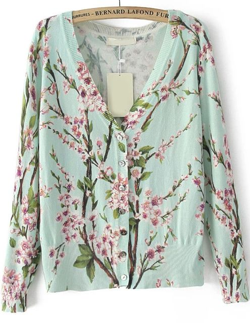 Green V Neck Long Sleeve Floral Knit Sweater 21.67