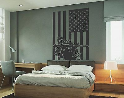 ik732 Wall Decal Sticker Army soldier military weapons American flag vest room 96802400186 | eBay
