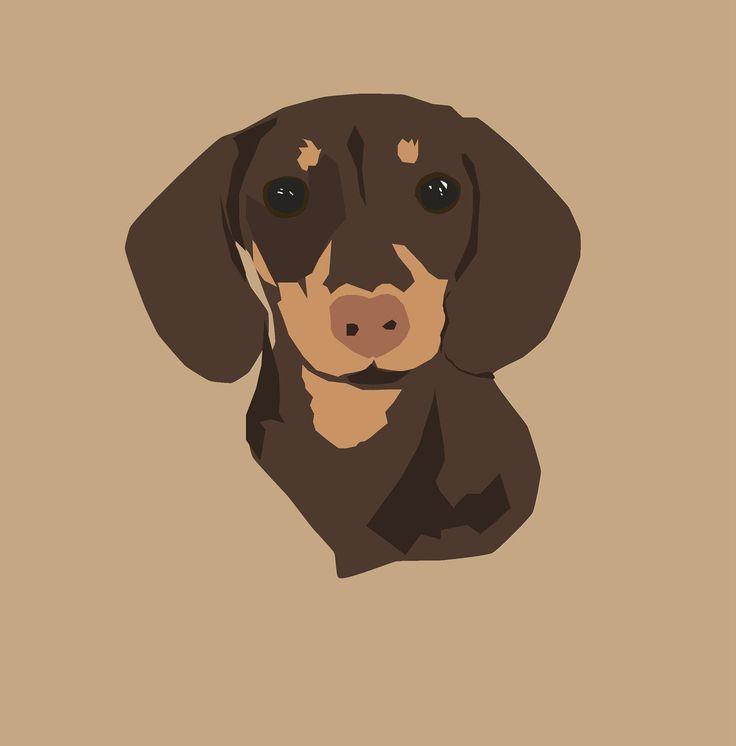 dachshund art PRINT 13x19 modern dog art poster needlepoint gift dachshund dog
