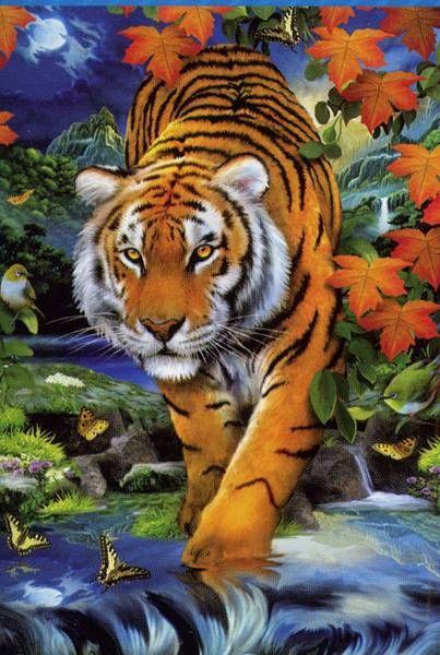 Este tigre no es tan fiero pero impresiona gracias al efecto 3D, que una vez terminado puede apreciarse con las gafas facilitadas. Es de CLEMENTONI (50x70 aprox. - 1000 Piezas).                                                                                                                                                                                 Más