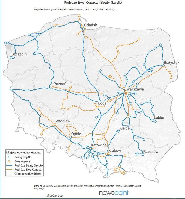 Zobaczcie mapę podróży przedwyborczych Ewy Kopacz i Beaty Szydło, która powstała m.in. na podstawie danych Newspoint! http://biqdata.pl/mapa-podrozy-ewy-kopacz-i-beaty-szydlo