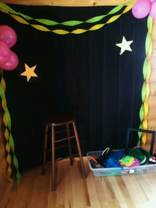Party photo booth background...black shower curtain