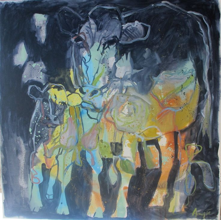 """Pyjama Cow"" 100x100cm, oil on canvas, 2016 Angie Arbuthnot"