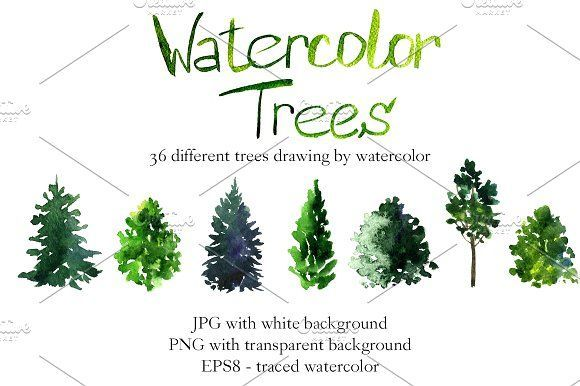 Watercolor trees by cat_arch_angel on @creativemarket