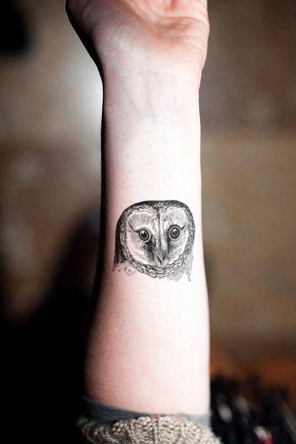 Vintage owl temporary tattoo by Tattoorary on Etsy, $5.00