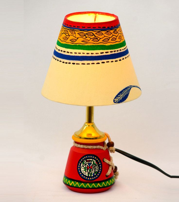 Red & White Handpainted Warli Terracotta Baby Lamp Click on the photo to shop!