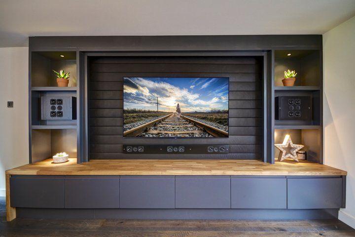 Monochrome Media Room Home Cinema Room Living Room Tv Wall Tv Room Design