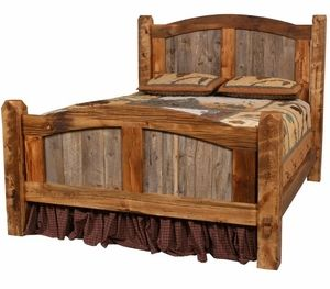 Add a gentle curve to soften the look of your #rustic bedroom. The head and footboard trim are large pieces of wood cut into an arch which frame the graduated sizes of the #barnwood boards.
