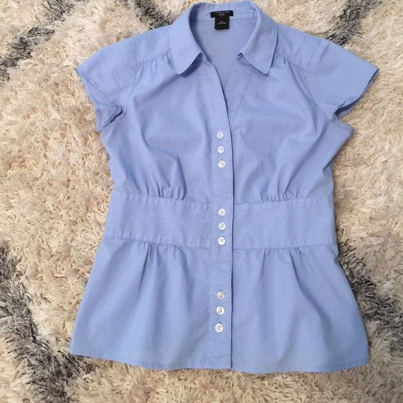 Light blue button up shirt Very thin light blue/white stripes. The narrow waist is so flattering! In great condition, just needs to be ironed or steamed. Size 0 petite Ann Taylor Tops Button Down Shirts