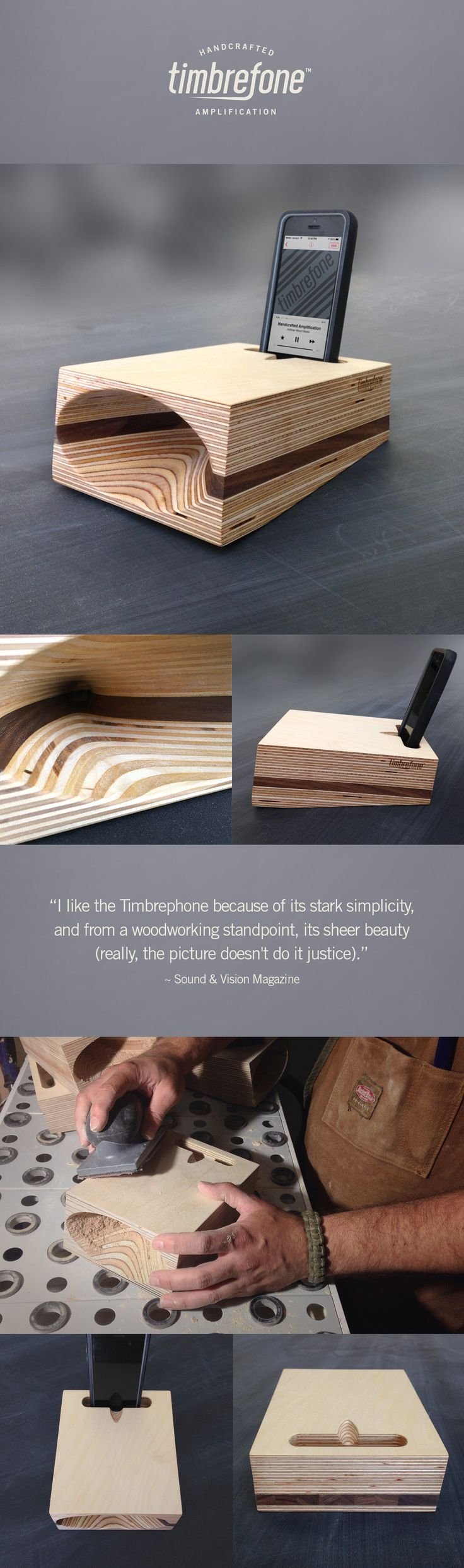 """Audio Pros and customers are loving the Timbrefone! This elegant wood amplifier for your phone is an acoustic work of art! #timbrefone  Read in-depth review by Sound&Vision Magazine. Click """"Visit"""""""