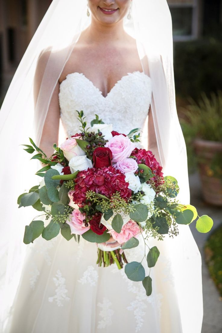 Elegant Hotel Wedding at The Dearborn Inn, MI  Breathtaking maroon and pink bouquet!   Photographer:  Green Holly Photography