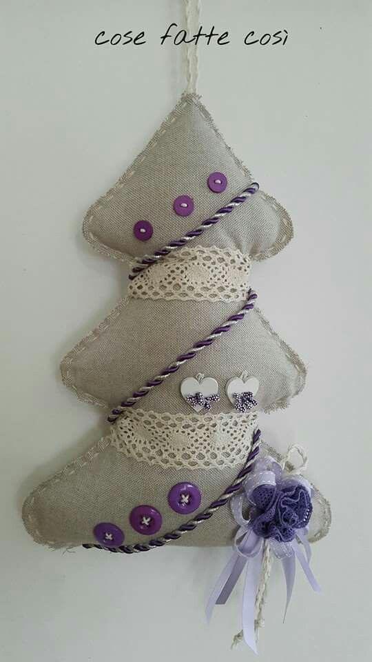 Fuoriporta Natale albero pizzo cuori legno nastro bottoni cordoncino