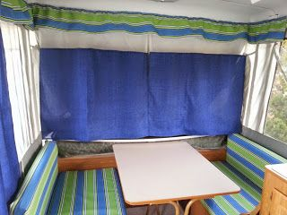 My very first hack!  Old pop up camper made new again!  I loved the colors.