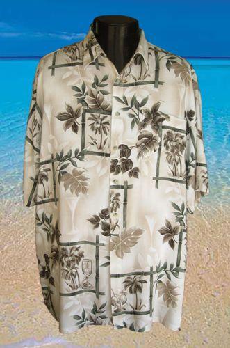 Size-XXL-Pierre-Cardin-Tropical-Drinks-Men-039-s-Hawaiian-Shirt-button-pocket