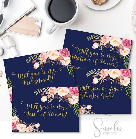 Will You Be My Bridesmaid Printable set Navy Blue Gold Text