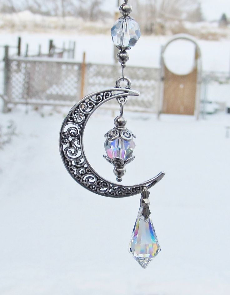 Moon Rear View Mirror Accessories Ornament Crystal Prism Suncatcher Car Accessory Car Charm by JasGlassArt on Etsy