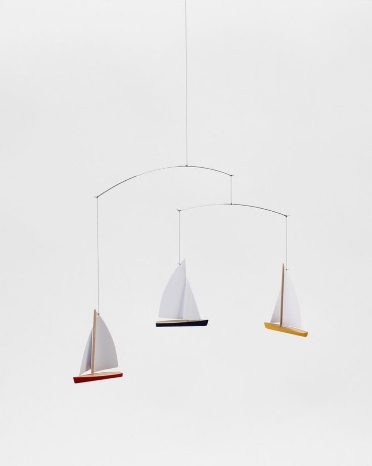 Flensted | Mobile | Regatta | Ship | Boat | Playing | Shop | Design and Craft | Gifts | Makers&Brothers |   Playfully, delicately they will dance below the ceiling.  A gentle reminder of the wind in your hair and salt on your lips.  A fleet of little boats for sailors of all ages.