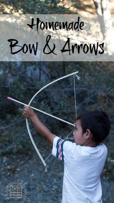 Homemade Bow and Arrows. Quick, easy, and inexpensive to make. Great DIY gift for kids. via /researchparent/