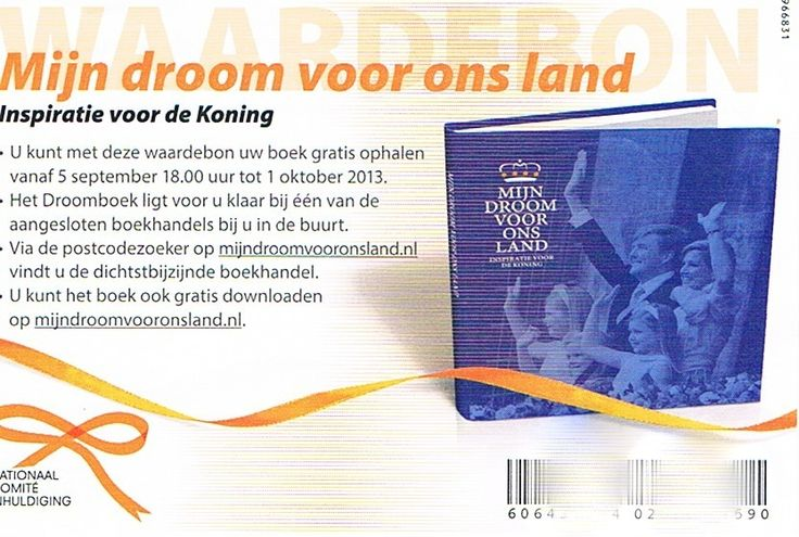 Mijn droom voor ons land (My dream for our country) book for the King