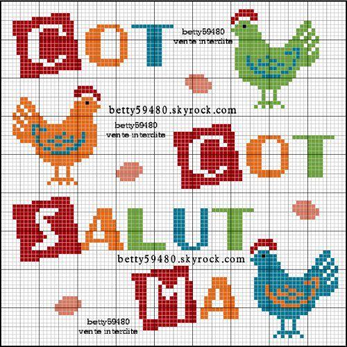 poule - Point de croix - Blog : http://broderiemimie44.canalblog.com/