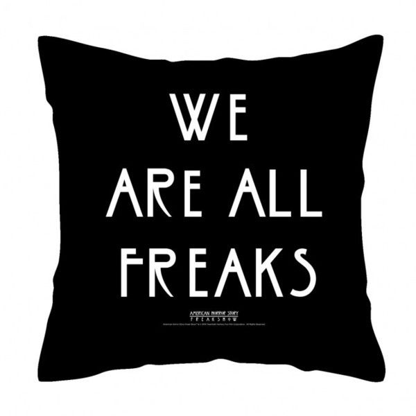 American Horror Story We Are All Freaks Throw Pillow ($40) ❤ liked on Polyvore featuring home, home decor, throw pillows, accessories, backgrounds, black, misc, black accent pillows, american home decor and black home decor