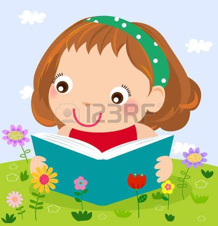 flores caricatura: Niña lectura