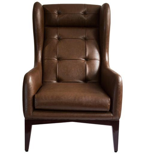 Awesome Manhattan Wing Chair In Brown Colour By Studio Ochre Caraccident5 Cool Chair Designs And Ideas Caraccident5Info