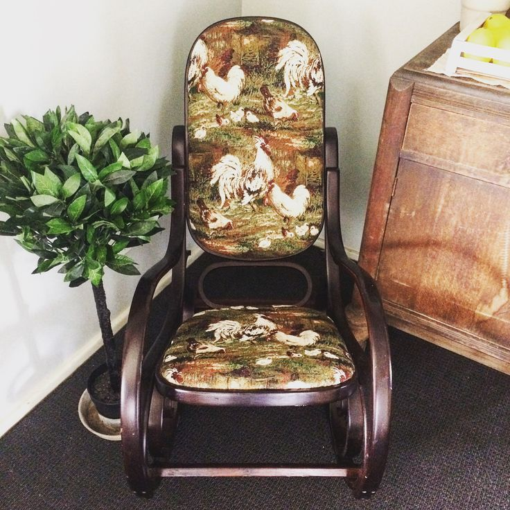 """26 Likes, 5 Comments - Erin Leigh (@restored_rubies) on Instagram: """"Latest refurbished piece: Bentwood Rocking chair with new Chicken tapestry upholstery. $150. . .…"""""""