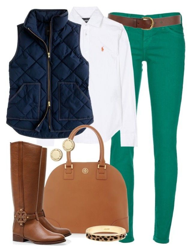 """""""Bye, Winter."""" by classically-preppy ❤ liked on Polyvore featuring Current/Elliott, Warehouse, Ralph Lauren, J.Crew, Tory Burch, Marc by Marc Jacobs, leopard print, big bangles, riding boots and green skinny jeans"""