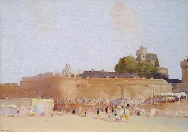 La Plage de l'Eventail, St. Malo - Sir William Russell FLINT, RA PRWS ROI RE RSW (1880 - 1969)